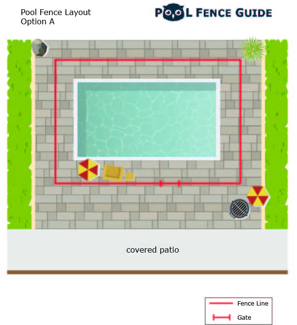 fence layout around square pool option A