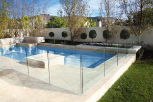 Glass swimming pool fence