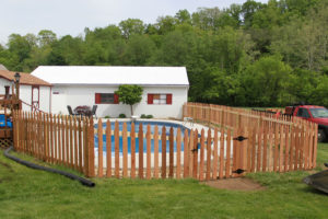 Pool fence made of wood